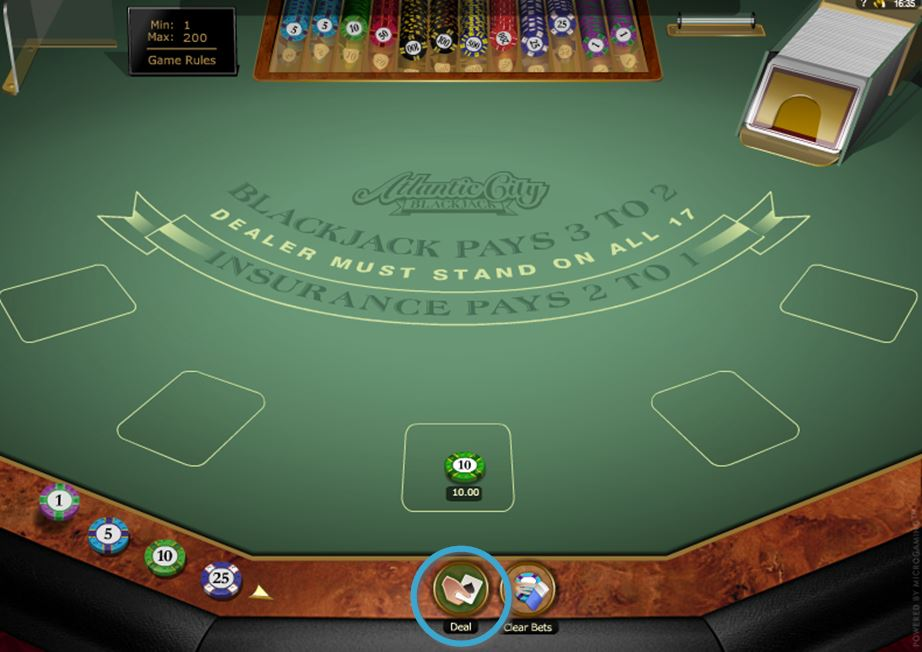 Blackjack Deal Button