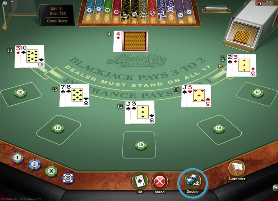 Blackjack Double Button