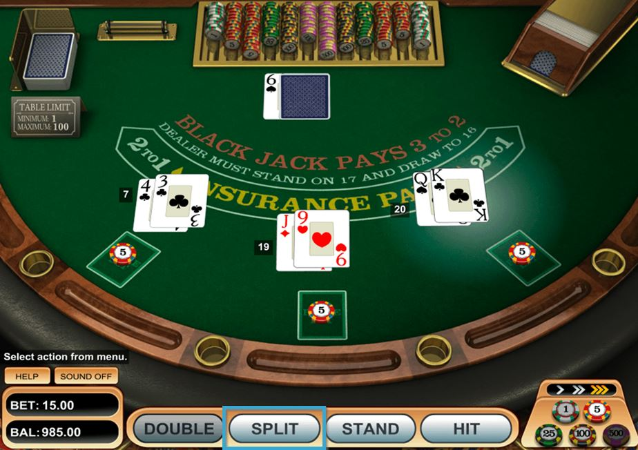 Blackjack Split Button