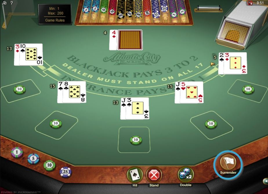 Blackjack Surrender Button