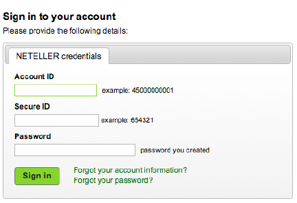 Neteller account log-in page